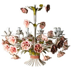 20th Century French Wrought Iron Chandeliers with Hand Painted Ceramic Flowers