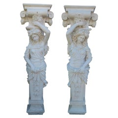 20th Century in Classic-Style White Carrara Marble Pair of Caryatids Figure