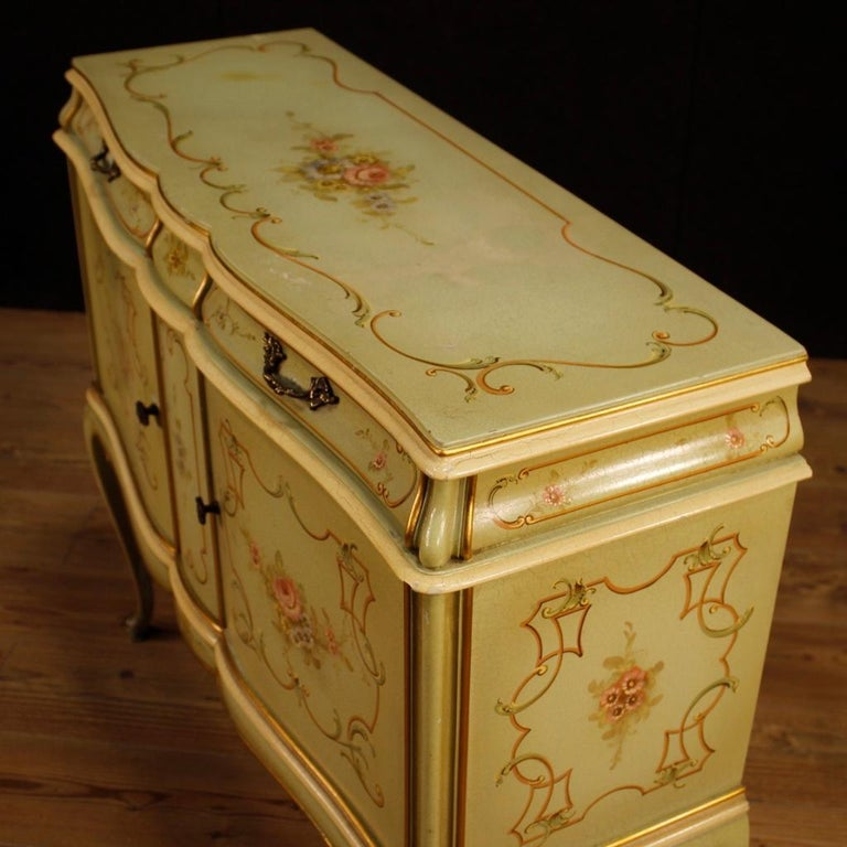 20th Century Lacquered, Gilded And Painted Wood Venetian Sideboard, 1960 For Sale 4