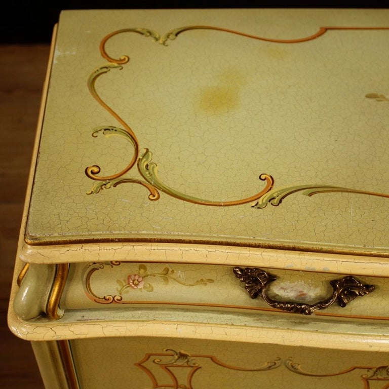 Italian 20th Century Lacquered, Gilded And Painted Wood Venetian Sideboard, 1960 For Sale