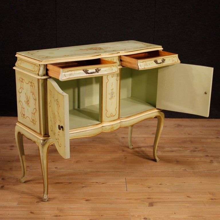 Gilt 20th Century Lacquered, Gilded And Painted Wood Venetian Sideboard, 1960 For Sale