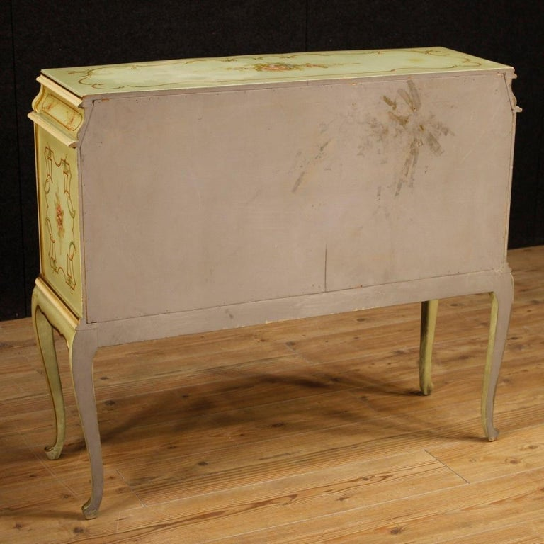20th Century Lacquered, Gilded And Painted Wood Venetian Sideboard, 1960 For Sale 2