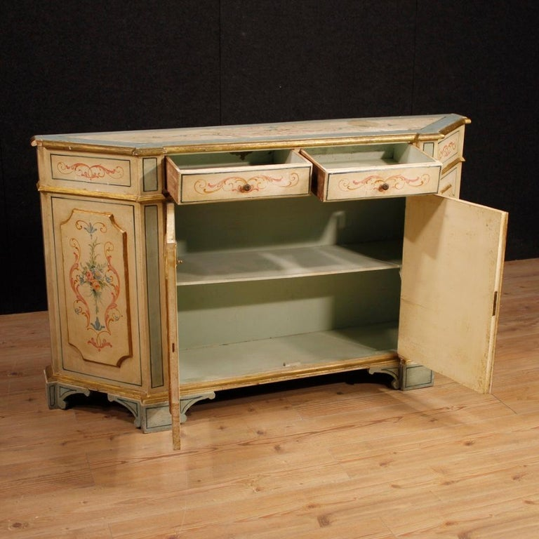 Italian 20th Century Painted And Gilded Wood Venetian Sideboard, 1960 For Sale