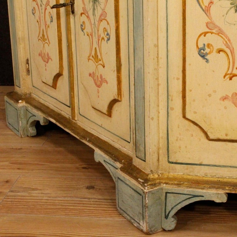 Italian 20th Century Painted and Gilded Wood Venetian Sideboard, 1970 For Sale