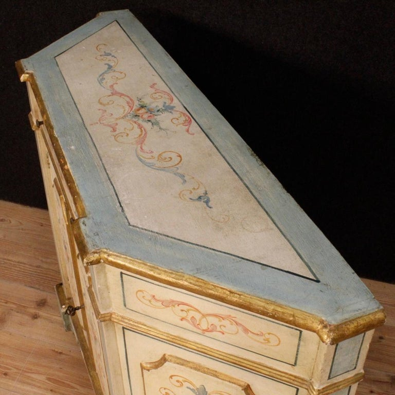Gilt 20th Century Painted and Gilded Wood Venetian Sideboard, 1970 For Sale