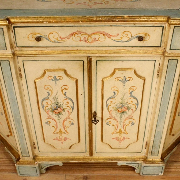 Late 20th Century 20th Century Painted and Gilded Wood Venetian Sideboard, 1970 For Sale