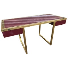 20th Century in the Style of Jean Claude Mahey Plexiglass and Brass Desk, 1970s