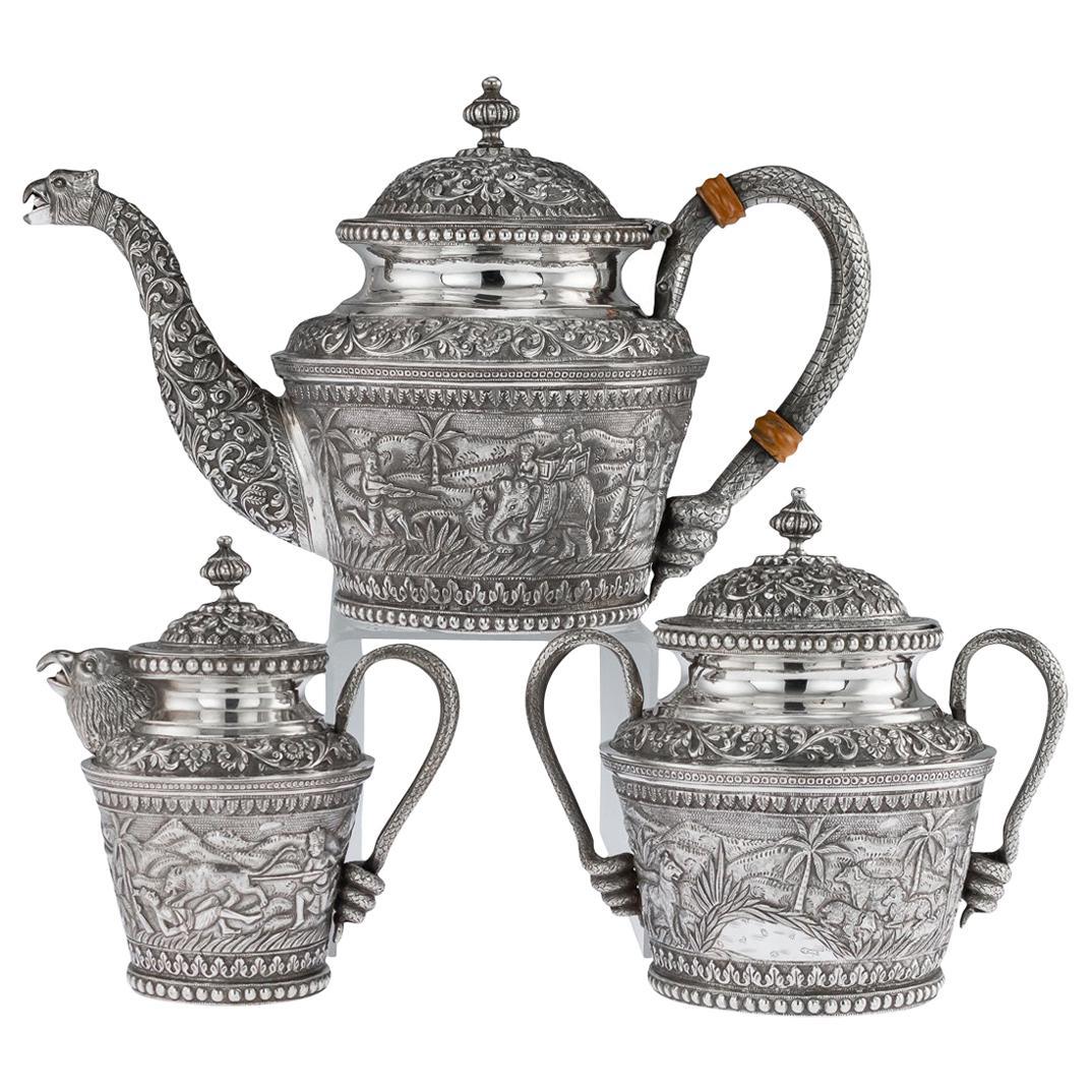 20th Century Indian Karachi-Cutch Solid Silver Tea Set, J Manikrai, circa 1900