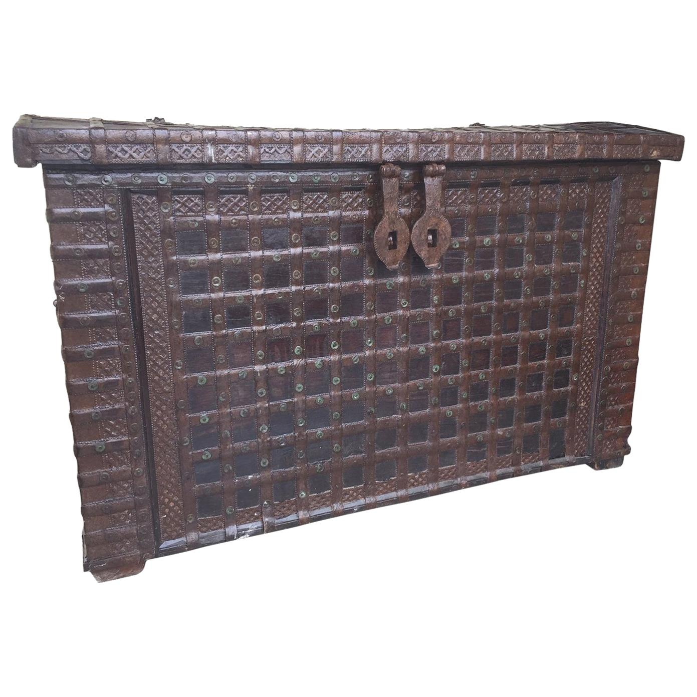 20th Century Indian Large Iron and Wood Trunk, 1900s
