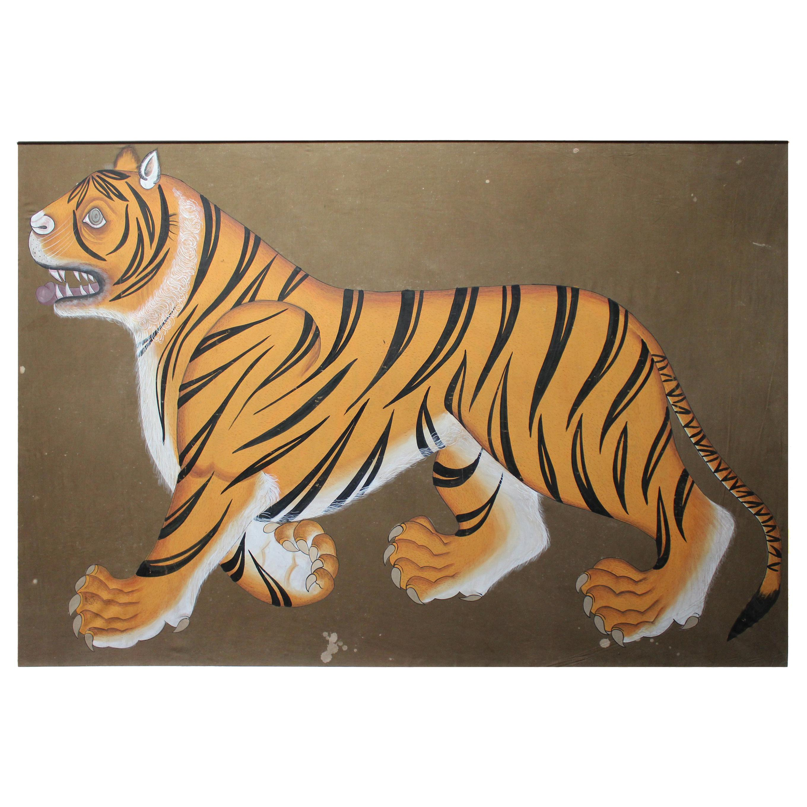 """20th Century Indian Painting """"Real Bengal Tiger"""" Oil on Canvas"""