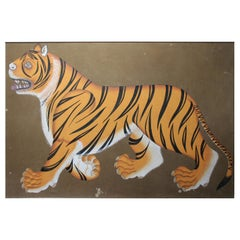 "20th Century Indian Painting ""Real Bengal Tiger"" Oil on Canvas"