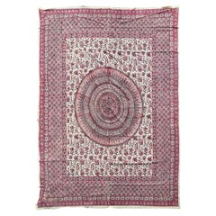 20th Century Indian Pink Lotus Mandala Fabric/Textile