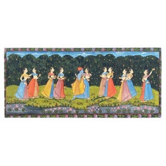 20th Century Indian School 'A painted panel of Indian dancers'