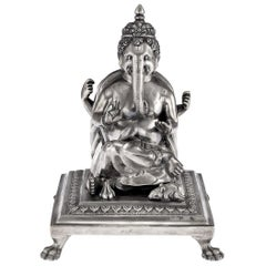 20th Century Indian Silver Statue of Ganesh Chaturthi, Calcutta, circa 1910