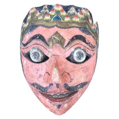20th Century Indonesian Balinese Topeng Carved Polychrome Mask, circa 1940s