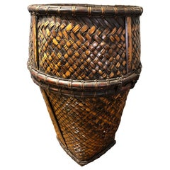 20th Century Indonesian Handwoven Rattan and Bamboo Hauling Basket