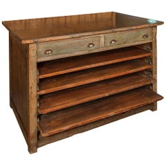 20th Century Industrial Counter in Wood with Iron Rop