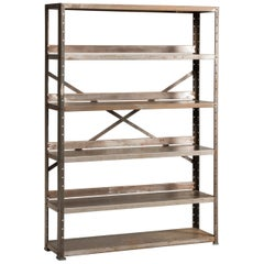 20th Century Industrial Iron Bookcase