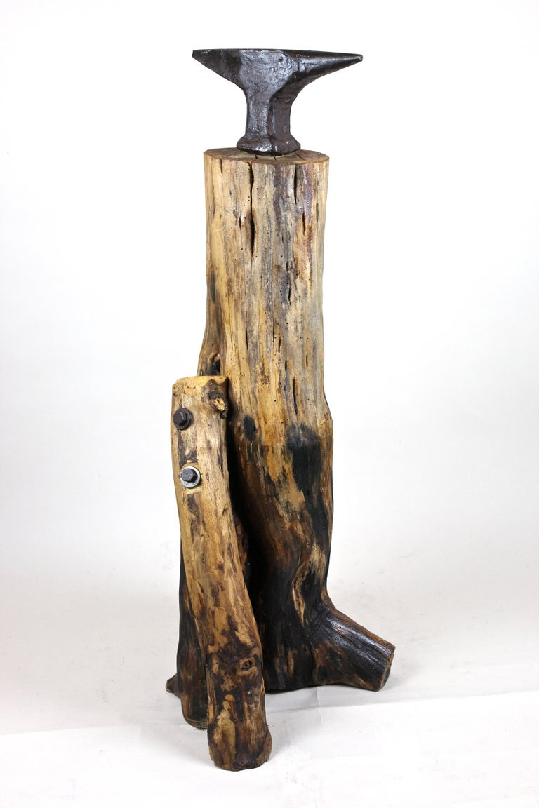 Out of the ordinary early 20th century modern wooden sculpture out of Austria, circa 1915-1920. This large abstract sculpture impresses with its unusual formed massive wooden tree Stand which got the perfect Stand through an artfully added branch.