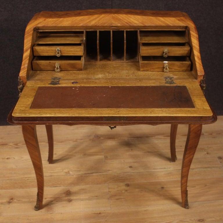 20th Century Inlaid Rosewood Walnut Mahogany Fruitwood French Bureau, 1950 For Sale 1