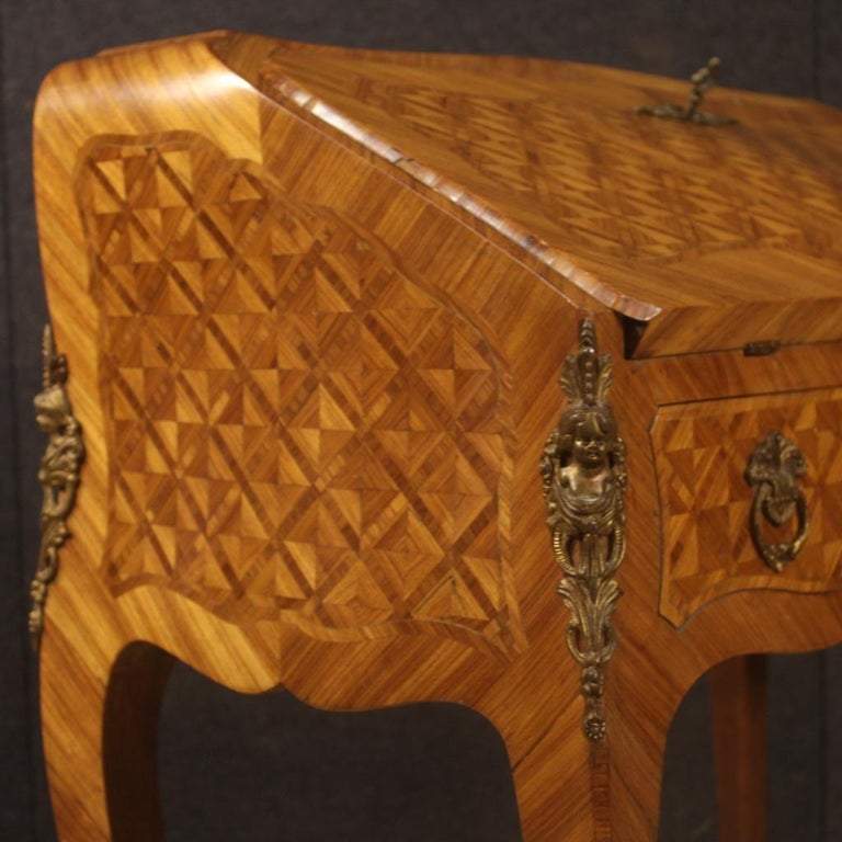20th Century Inlaid Rosewood Walnut Mahogany Fruitwood French Bureau, 1950 For Sale 3