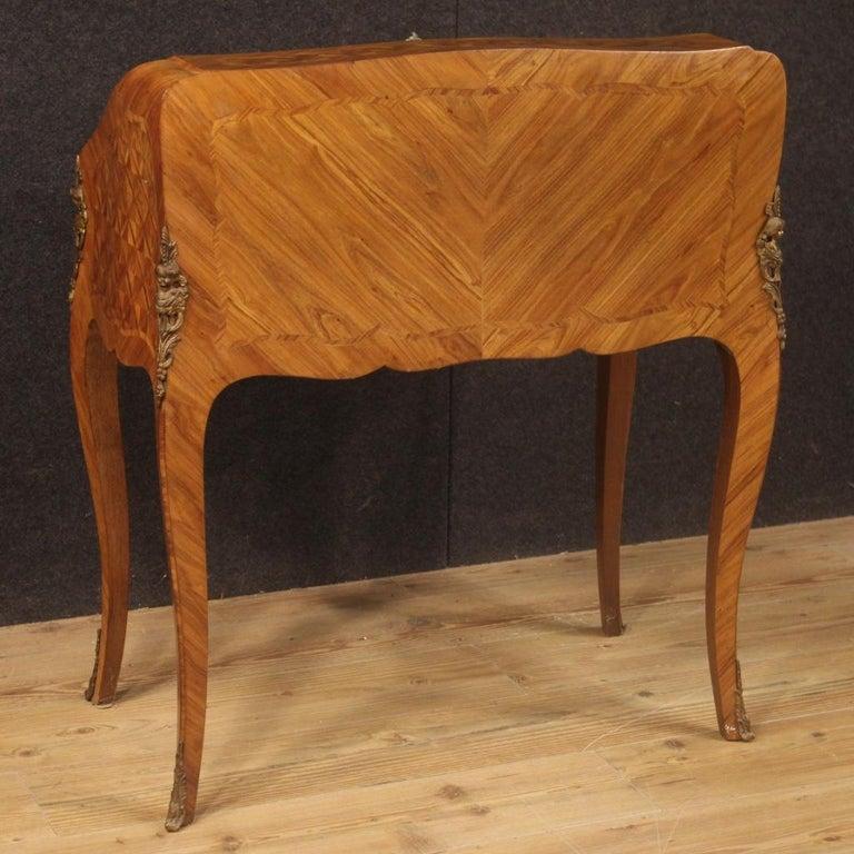 20th Century Inlaid Rosewood Walnut Mahogany Fruitwood French Bureau, 1950 For Sale 5