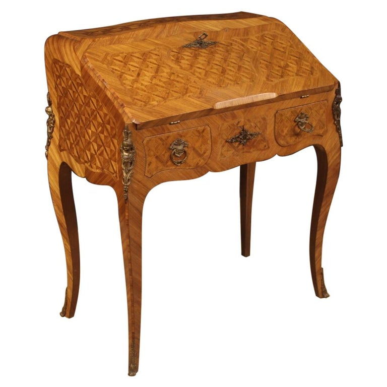 20th Century Inlaid Rosewood Walnut Mahogany Fruitwood French Bureau, 1950 For Sale