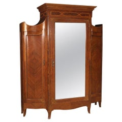 20th Century Inlaid Walnut Burl Rosewood Wood Italian Louis XV Style Wardrobe