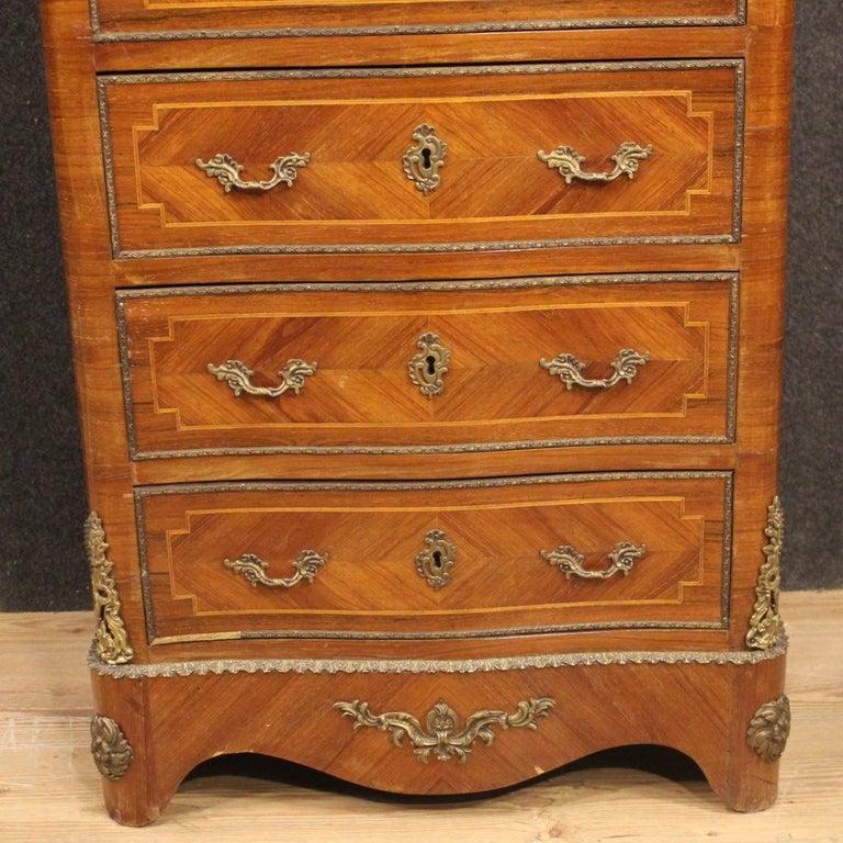 20th Century Inlaid Walnut Mahogany Maple Fruitwood French Secrétaire Desk, 1950 6