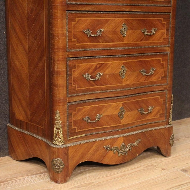 20th Century Inlaid Walnut Mahogany Maple Fruitwood French Secrétaire Desk, 1950 In Good Condition In Vicoforte, Piedmont