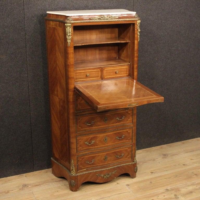 20th Century Inlaid Walnut Mahogany Maple Fruitwood French Secrétaire Desk, 1950 3