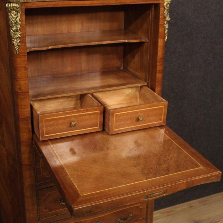 20th Century Inlaid Walnut Mahogany Maple Fruitwood French Secrétaire Desk, 1950 4