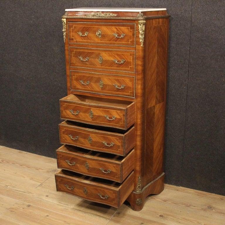 20th Century Inlaid Walnut Mahogany Maple Fruitwood French Secrétaire Desk, 1950 5