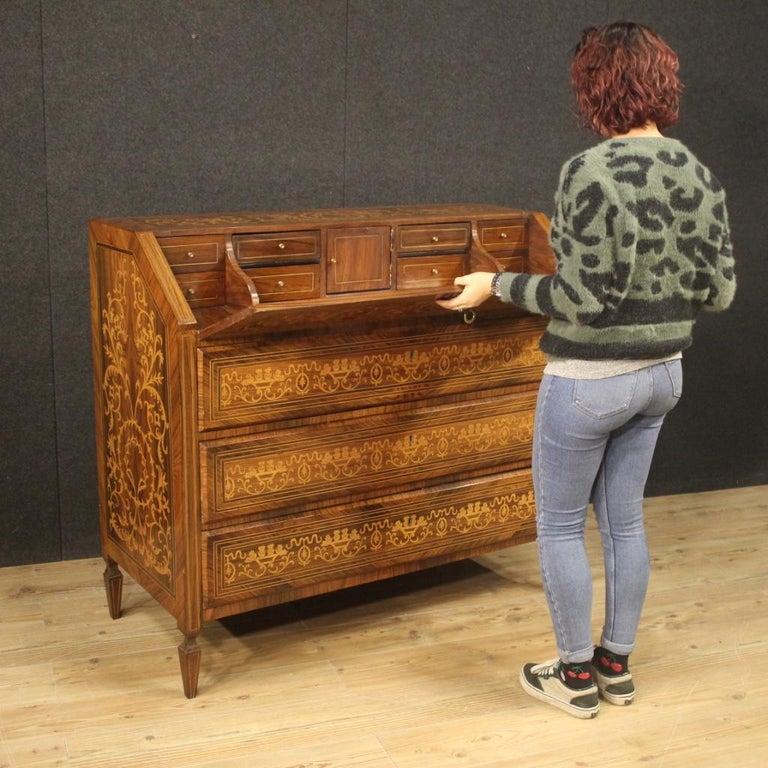 20th Century Inlaid Walnut Maple Cherry Fruitwood Italian Louis XVI Style Bureau For Sale 9