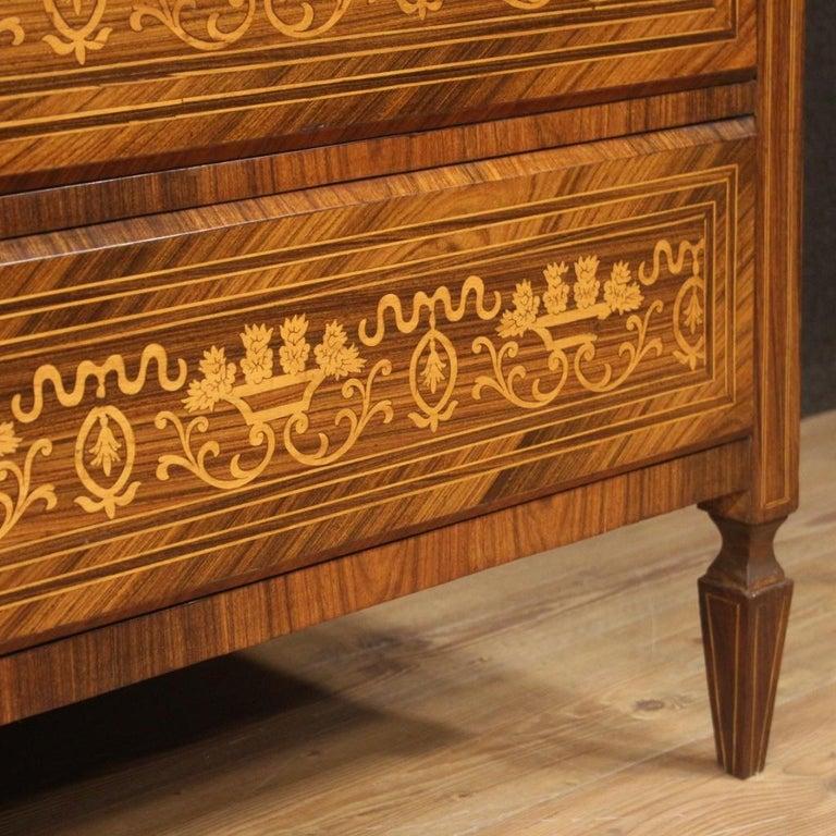 20th Century Inlaid Walnut Maple Cherry Fruitwood Italian Louis XVI Style Bureau For Sale 1