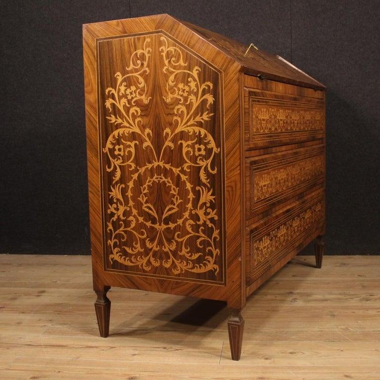 20th Century Inlaid Walnut Maple Cherry Fruitwood Italian Louis XVI Style Bureau For Sale 2