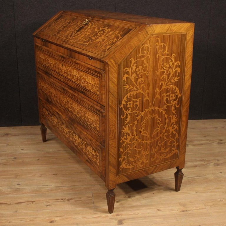 20th Century Inlaid Walnut Maple Cherry Fruitwood Italian Louis XVI Style Bureau For Sale 4