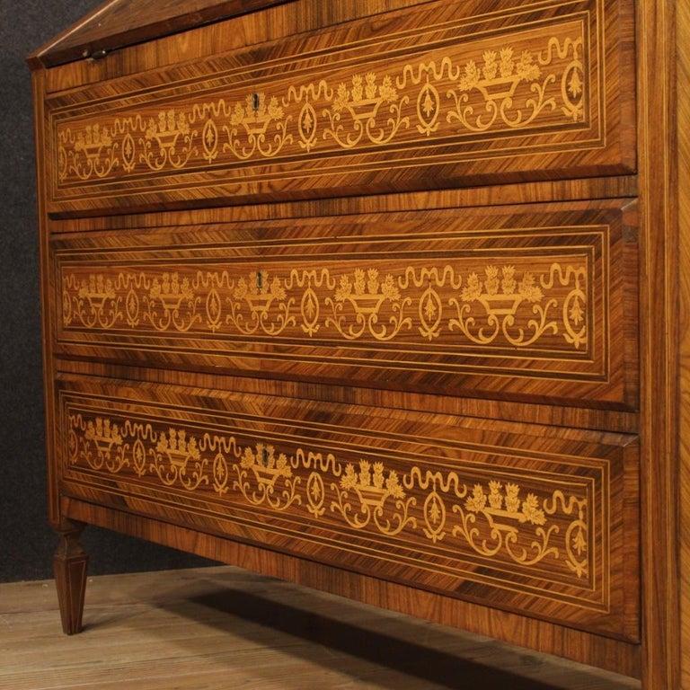 20th Century Inlaid Walnut Maple Cherry Fruitwood Italian Louis XVI Style Bureau For Sale 5