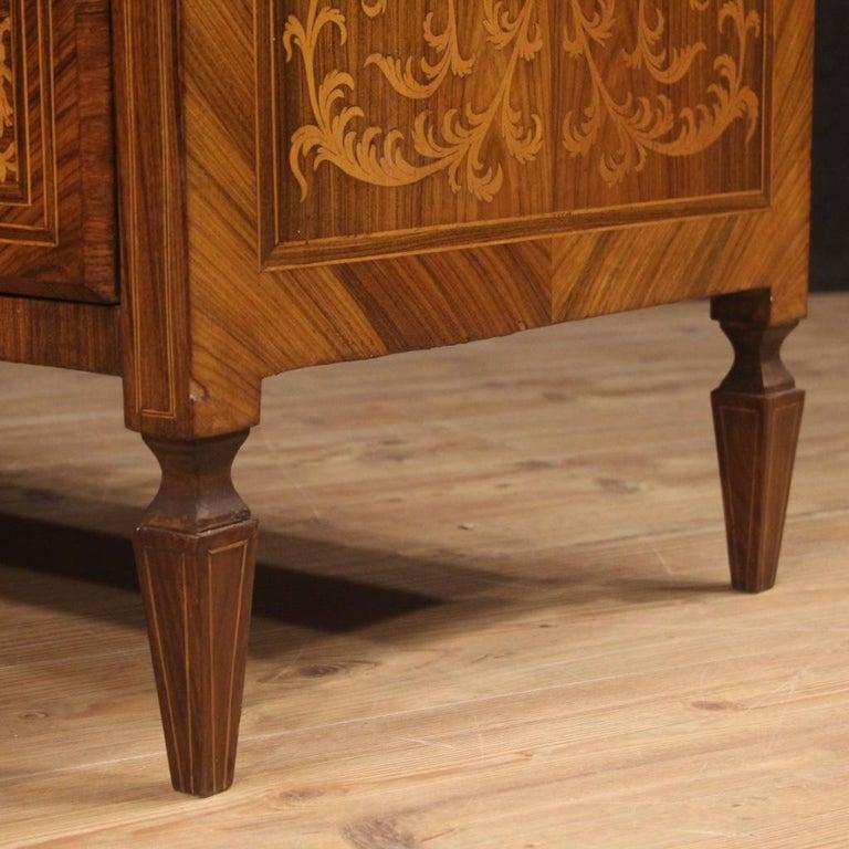 20th Century Inlaid Walnut Maple Cherry Fruitwood Italian Louis XVI Style Bureau For Sale 6
