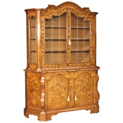 20th Century Inlaid Walnut Maple Mahogany Beech Woods Dutch Display Cabinet 1960