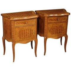 20th Century Inlaid Walnut, Rosewood, Mahogany, Maple Italian Bedside Tables
