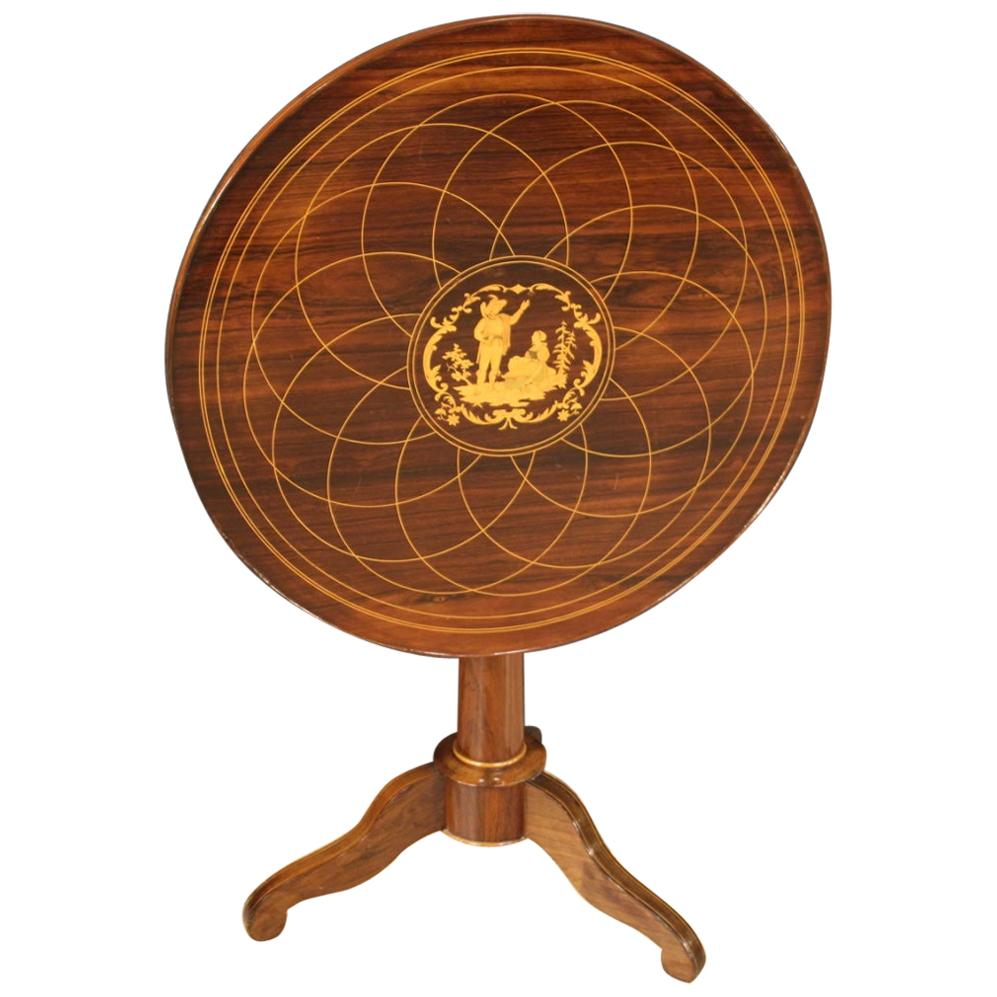 20th Century Inlaid Wood English Round Side Table, 1920