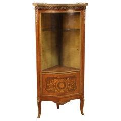 20th Century Inlaid Wood French Napoleon III Style Corner Cabinet, 1960