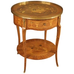20th Century Inlaid Wood French Round Side Table, 1960