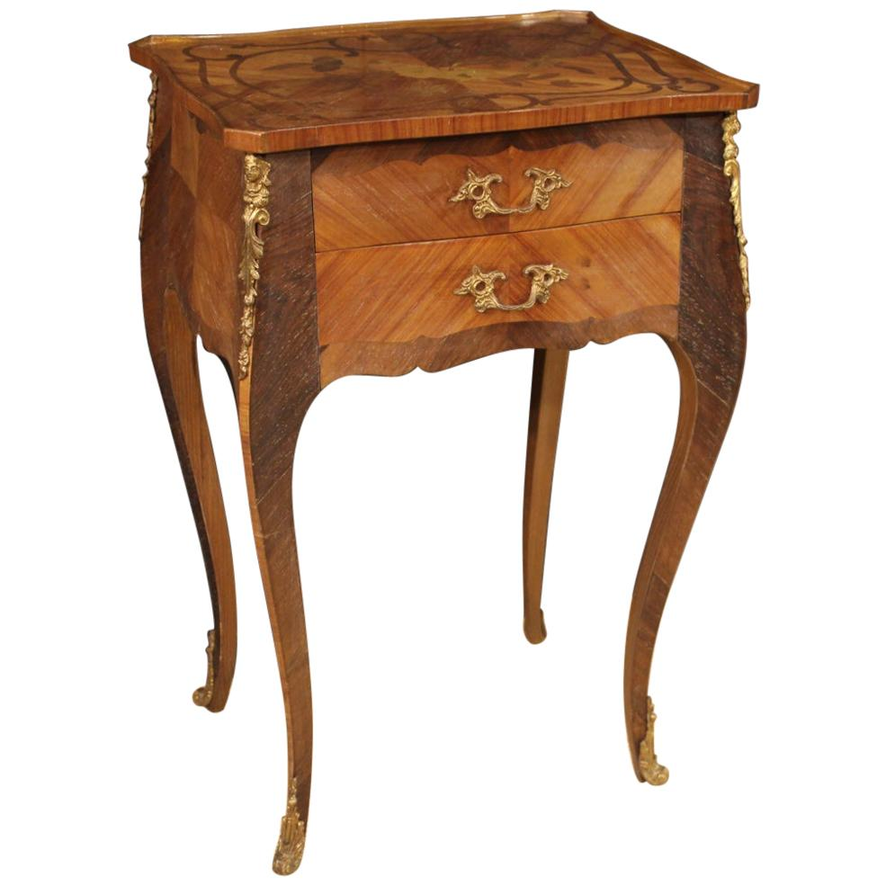 20th Century Inlaid Wood French Side Table, 1950