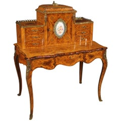 20th Century Inlaid Wood French Writing Desk, 1950