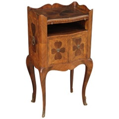 20th Century Inlaid Wood Genoese Four-leaf Clover Bedside Table, 1960
