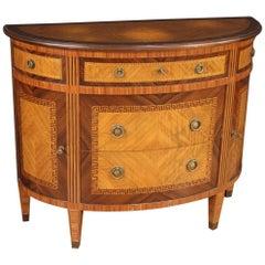 20th Century Inlaid Wood Italian Demilune Louis XVI Style Commode, 1950