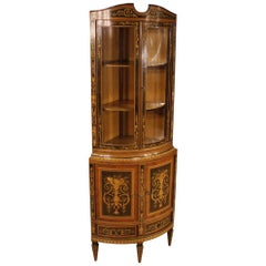 20th Century Inlaid Wood Italian Louis XVI Corner Cabinet, 1960