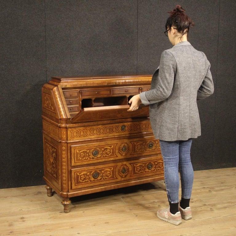 20th Century Inlaid Wood Italian Louis XVI Maggiolini Style Bureau Desk, 1960 For Sale 7